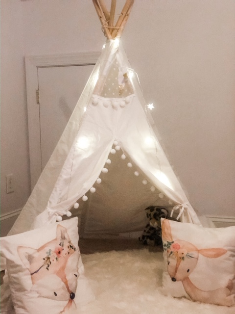 kid room tent with lights