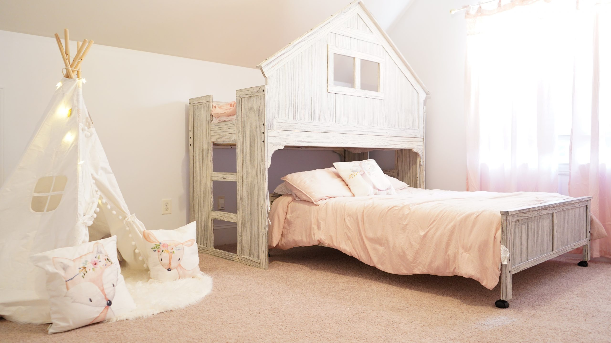 full bed loft twin kids room