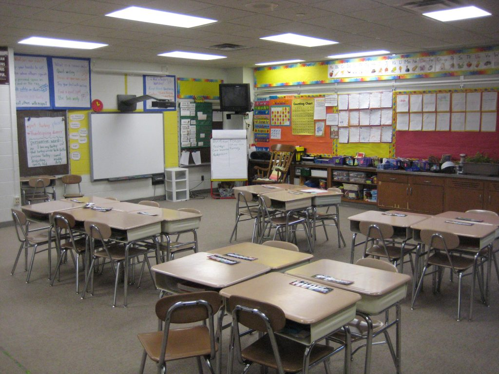 empty classroom distance learning