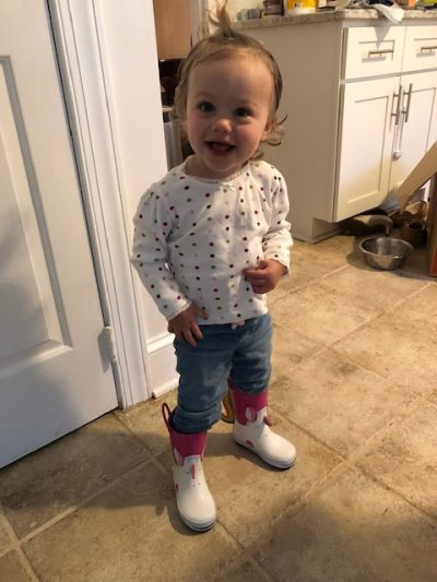 toddler helping with moving